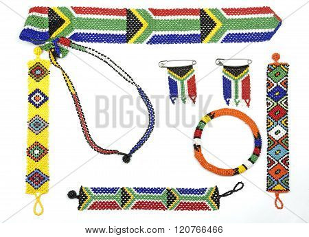 Variety Of Zulu Beadwork Threaded Into Bracelets And Flags