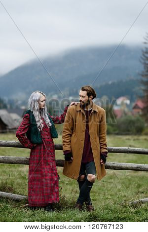 Pair Of Lovers In The Carpathian Mountains