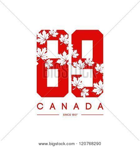 Vintage Canada red tee print vector design