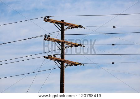Telephone Pole with Electric Power Lines