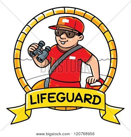Funny lifeguard. Emblem. Profession ABC series