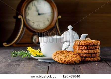 Tea Cup With Sweet Cookie