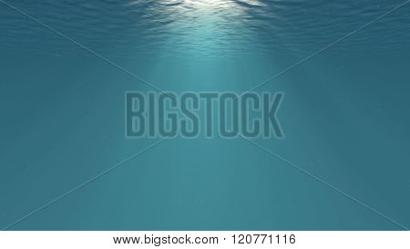 Lightrays Shining Through Deep Ocean Water Surface