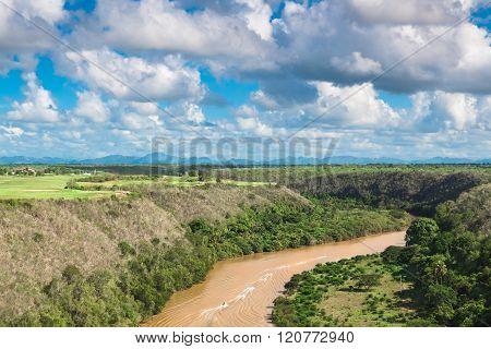 Tropical river Chavon, Dominican Republic. top view