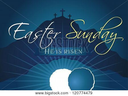 Easter sunday holy week navy blue banner