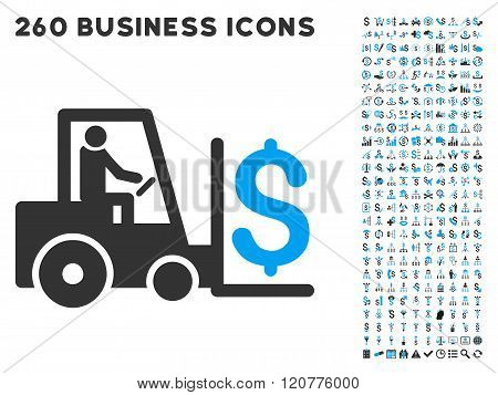Money Warehouse Icon with Flat Vector Set