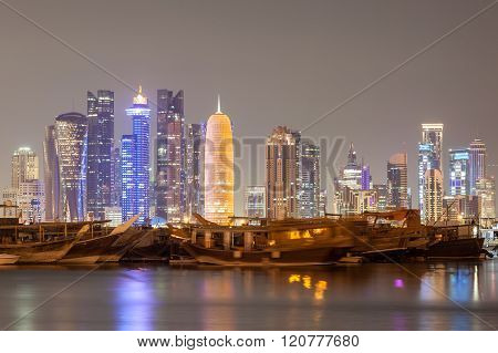 Doha City Skyline At Night, Qatar
