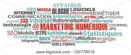 French Digital Marketing Concept Word cloud