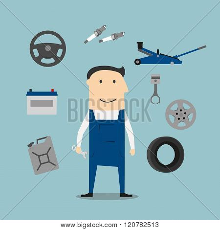 Car mechanic profession and equipment icons
