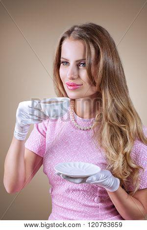Elegant Woman Drink Tea