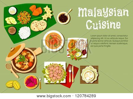 Malaysian cuisine dishes and tasty desserts