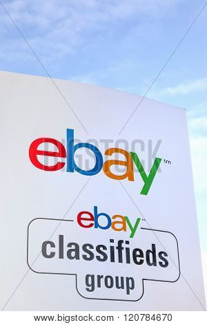 Aarhus, Denmark - February 12, 2016: Ebay sign on a panel. Ebay is an American multinational corporation and e-commerce company, providing consumer to consumer and business to consumer sales services via the internet