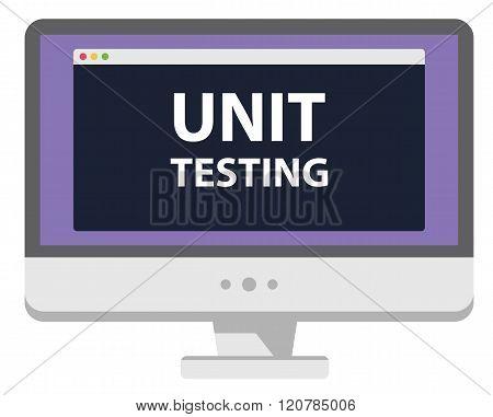 Web development illustration computer display unit testing isolated on white