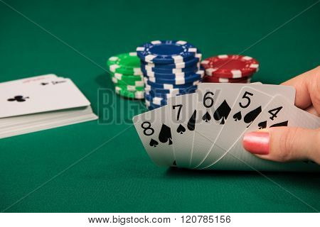 Woman Hand Holding Playing Card