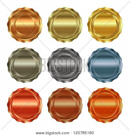 vector set of blank templates for printing labels, medals of gold, silver, bronze