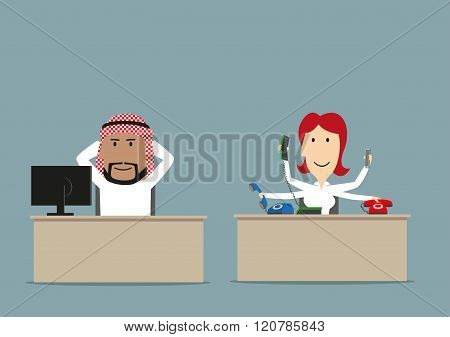 Cartoon lazy arab chief relaxing at workplace while his secretary working. Lazy worker, unfair teamwork, overwork, shirker theme design poster