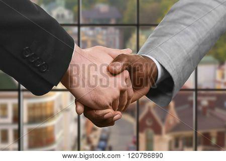 Business partners' handshake at daytime.