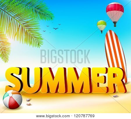 Summer Beach Seashore Background with Palm Tree and Beach Ball