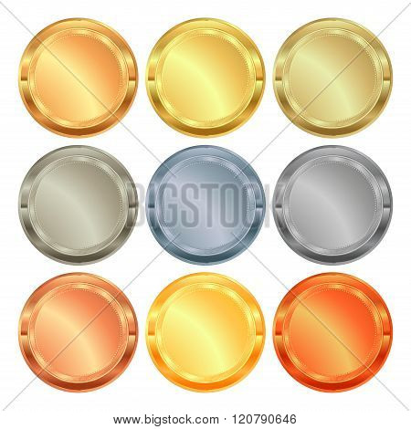 Vector Set Of Medals From Various Types Of Metal: Gold, Silver, Platinum, Aluminum, Copper, Brass, B