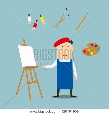 Artist or craftsman with art elements
