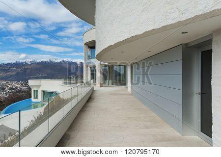 Architecture, penthouse with pool, view from the balcony poster