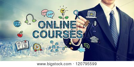 Businessman Drawing Online Course Concept