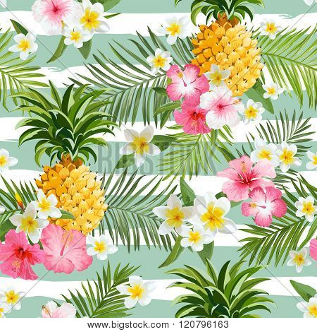 Pineapples and Tropical Flowers Geometry Background - Vintage Seamless Pattern - in vector
