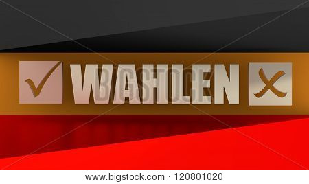 Wahlen text with check mark on germany flag background