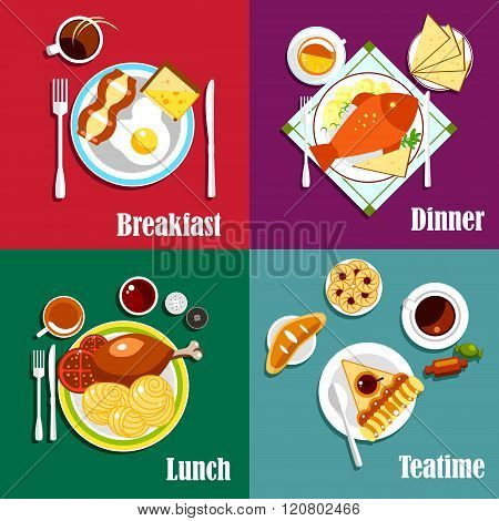 Continental breakfast, lunch and dinner