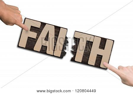 Man Woman Forefingers Combining Two Cracked Faith Word Boards