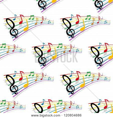 Seamless pattern of musical notes