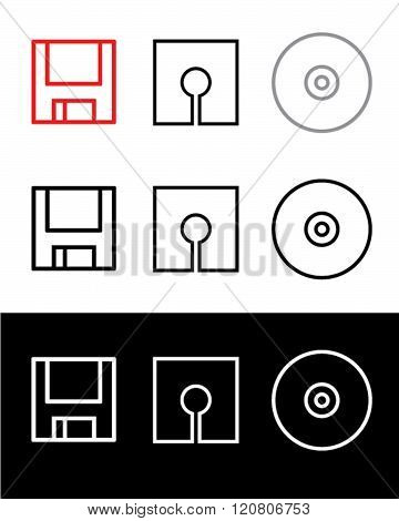 Vector Data Storage Symbol Set in Colour, Black and Reverse