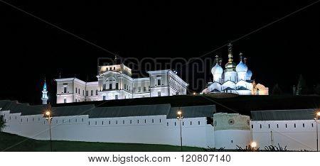 The Walls Of The Kazan Kremlin At Night