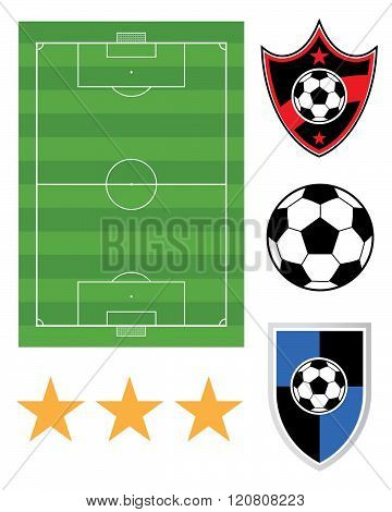 A collection of vector soccer elements including pitch, ball, championship stars and crests