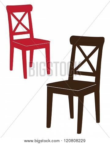A set of traditional wooden chairs in red and brown