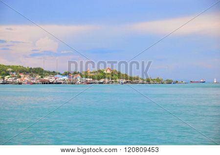 The sea and fisheries village, blur background