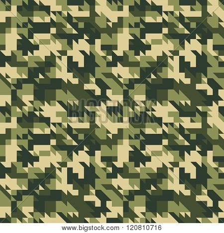 Military Olive Green Camouflage Seamless Pattern.