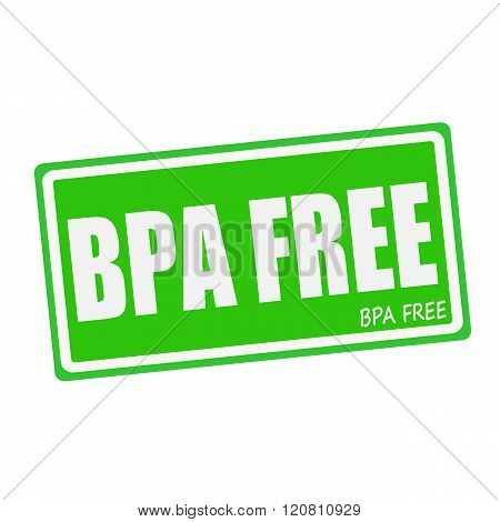 BPA FREE white stamp text on green