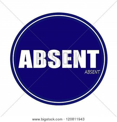 an images of ABSENT white stamp text on blue