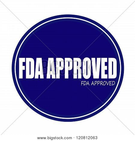 FDA APPROVED white stamp text on blue