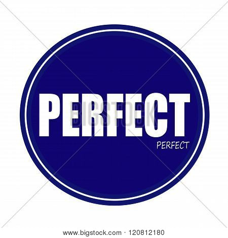an images of PERFECT white stamp text on blue