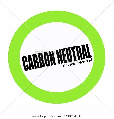 CARBON NEUTRAL black stamp text on green