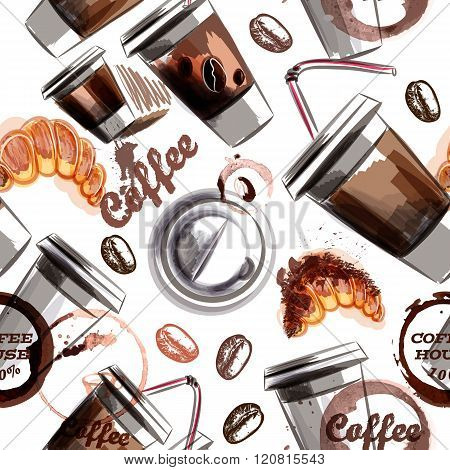 Vector Seamless Background With Coffee Plastic Cups And Croissant Painted In Watercolor Style