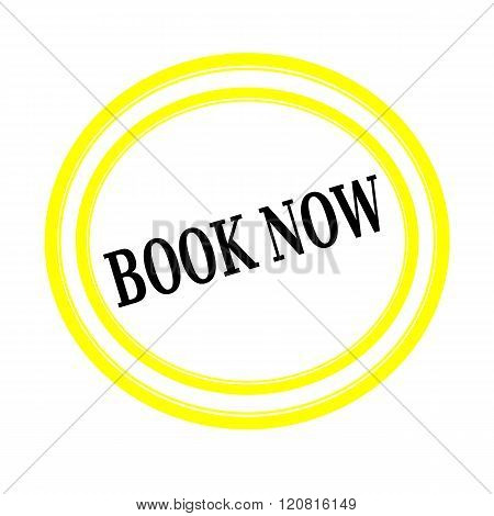 BOOK NOW black stamp text on white backgroud
