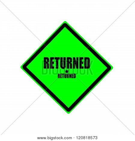 Returned black stamp text on green background