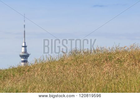 The View Point From Mount Eden And Blurred Background Of Auckland Skyline.
