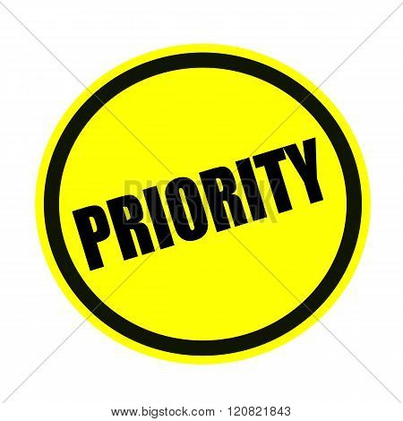 an images of Priority black stamp text on yellow