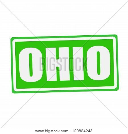 an images of OHIO white stamp text on green