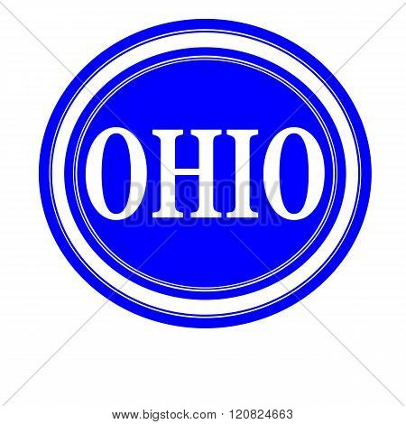 an images of Ohio white stamp text on blue