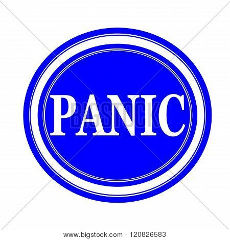 an images of Panic white stamp text on blue poster
